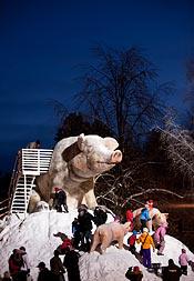 """Huvudattraktionen, """"djuret"""", står varje år i stadsparken. Den här vintern är det en gris med rutschkana för barnen."""