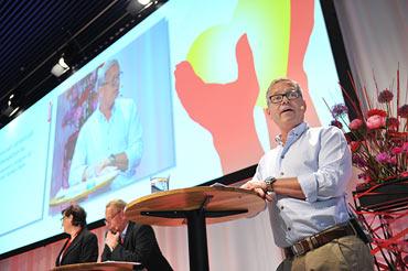 Annelie Nordström, Anders Bergström och Åke Lundström höll i seminariet Kommunals närvaro på arbetsplatserna – och medlemmars möjlighet till inflytande i fackliga frågor.