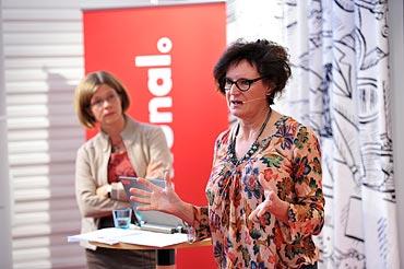 Ulrika Lorentzi och Annelie Nordström, Kommunal, presskonferens om anhörigvård.