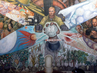 Man at the crossroads, muralmålning av Diego Rivera.