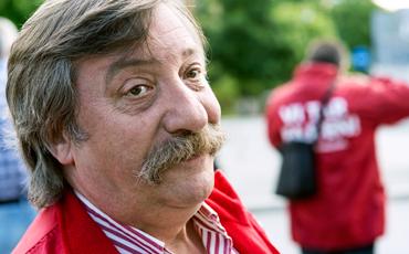 Minko Dimitrov, busstrejkens första dag.