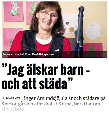Inger Amundsjö, städare.