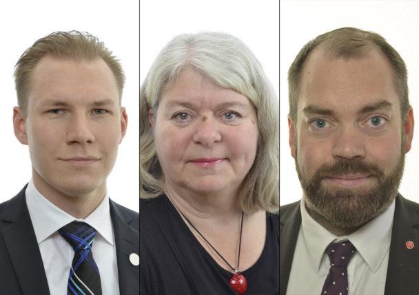 Markus Wiechel (SD), Mia Sydow Möller (V) och Fredrik Lundh Sammeli (S).