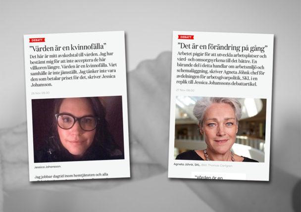 Jessica Johanssons och Agneta Jöhnks debattartiklar.