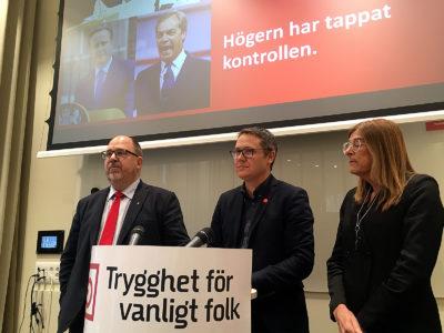 Karl-Petter Thorwaldsson, Johan Danielsson och Therese Gouvelin.