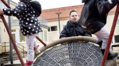 Tommy Bäckman på Stångbönans förskola.