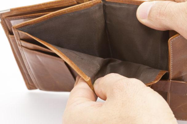Inga pengar i plånboken.