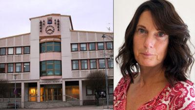 Ylva Olsson och kommunhuset i Kungälv.