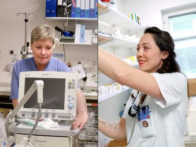 Helén Schönbäck, undersköterska, och Lydia Eifert, sjuksköterska.
