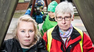 Emelie Björkman och Lena Tikkanen med Arvid Ihlar och Charlie Törnqvist.