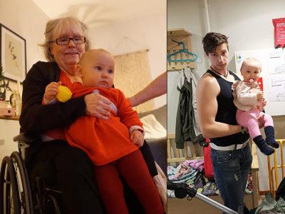 William Larsson och dottern Alina. Till vänster Gunnel Sundqvist, som nyligen gick bort.