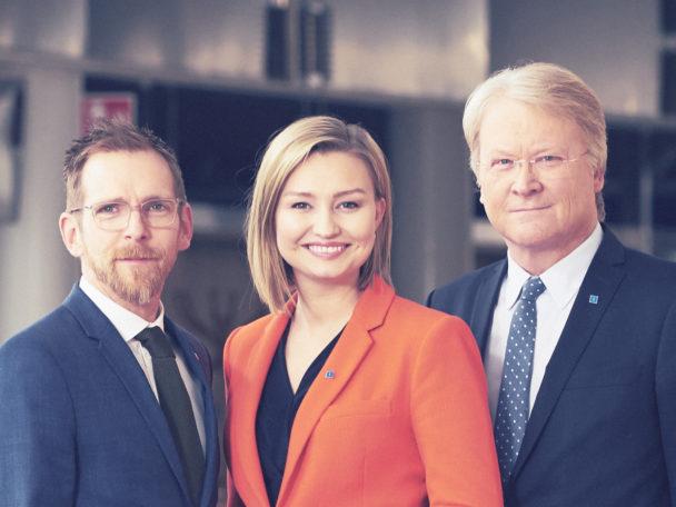 Jakob Forssmed, Ebba Busch Thor och Lars Adaktusson från Kristdemokraterna.