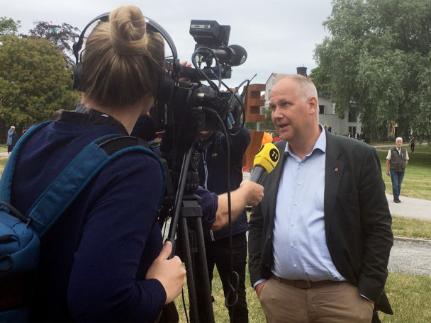 Jonas Sjöstedt (V) i Almedalen.