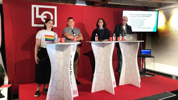 Lina Stenberg (Arbetets ledarredaktion), Veli-Pekka Säikkälä (IF Metalls avtalssekreterare), Carola Löfstrand (LO) och Martin Klepke (Arbetets politiska redaktör).