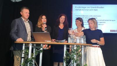 Diskussion i Almedalen om löneskillnaden mellan könen.