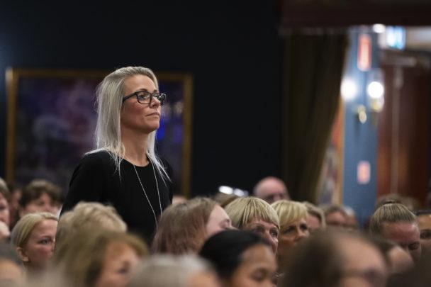 Annika Jönsson, sektionsordförande, vid medlemsmötet i Trelleborg.