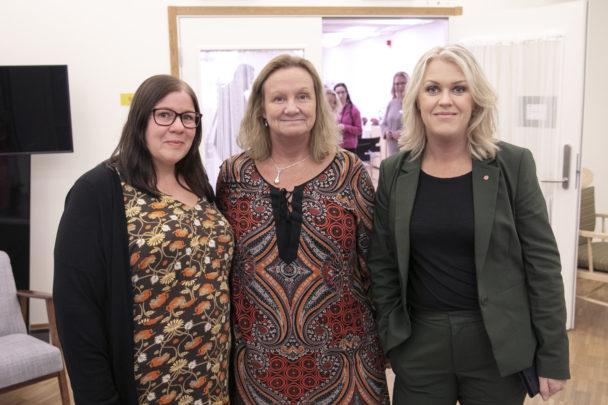 Marie Wiberg och Jenny Klingstam fick besök av socialminister Lena Hallengren (S).
