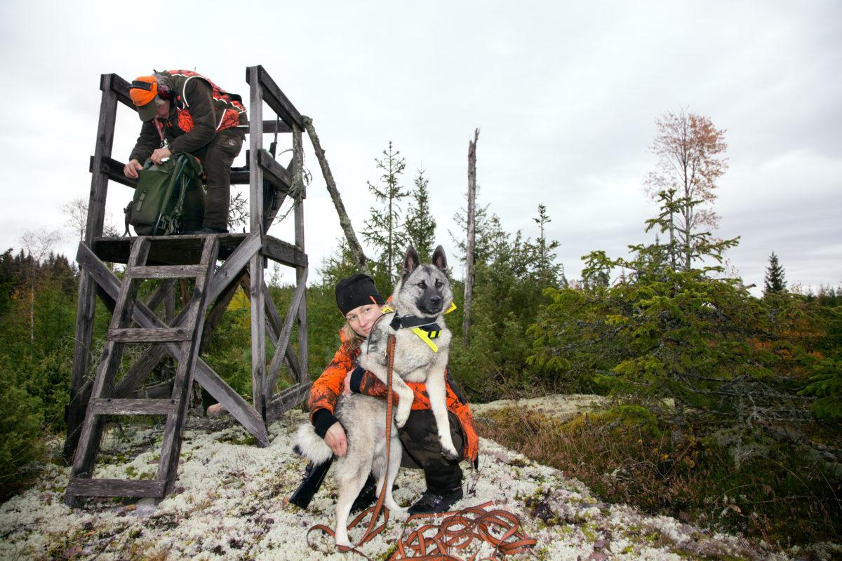 Efter många timmar kommer Bea van Stokkum fram till Anders Lignells jaktpass. Han letar snabbt fram hundgodis till Truls.