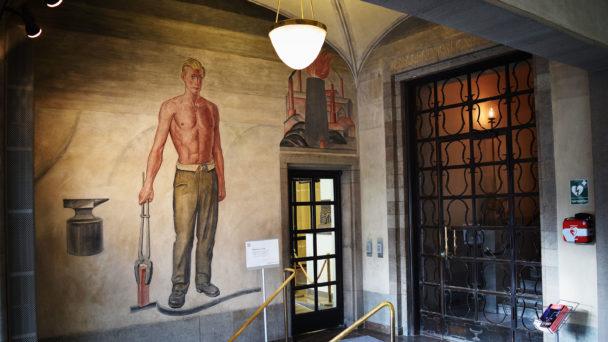 Väggmålning i LO-borgen av Olle Hjortzberg.