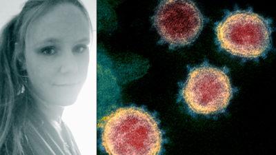 Linda Selin och mikroskopbild på coronavirus.