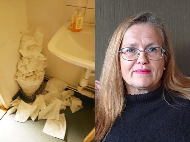 Agneta Thomasin Svensson och hennes egen bild från hemtjänstens rastlokal.