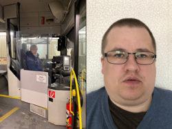 Transportledaren Per Hansson demonstrerar plexiglaset i Bodens bussar. Till höger skyddsombudet Björn Lundström.