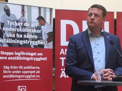 Kommunals ordförande Tobias Baudin. LO startar nu en kampanj mot LAS-utredningens förslag. Medlemmarna uppmanas att protestera på www.anställningstrygghet.nu.