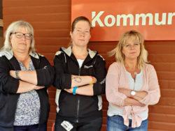 Eva Sens, fackligt förtroendevald, Therese Lundell, ordförande sektion Dalarna och Eva Olsson, skyddsombud och huvudskyddsombud anestesi-, operation- och iva-kliniken Falu lasarett.