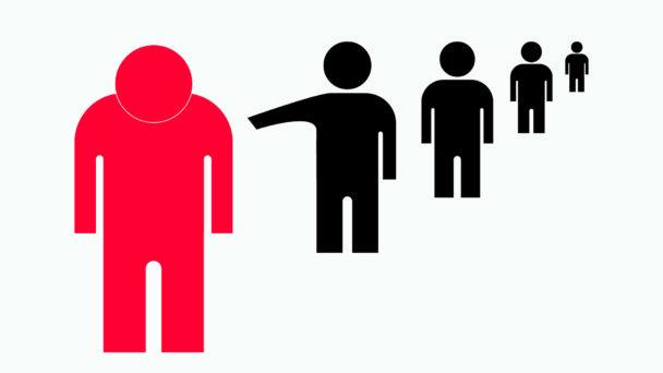 Fem siluettfigurer varav en blir mobbad.