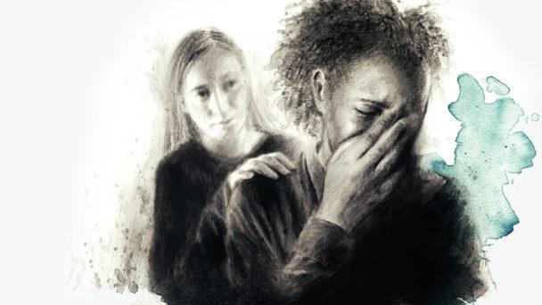 Illustration av två kvinnor, den ena gråter och den andra lägger handen på hennes axel.