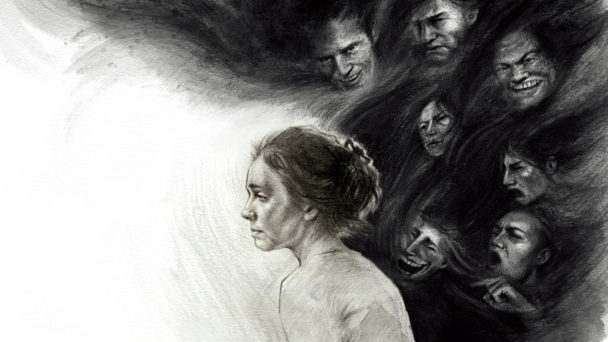 Illustration av en ledsen kvinna med fler hotfulla personer i bakgrunden.
