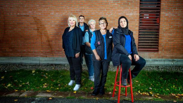 Tanja Gajic, Gaffar Dincer, Marjut Saarimaa, Zorica Jovanovic och Körpe Gül är lokalvårdare i Botkyrka.