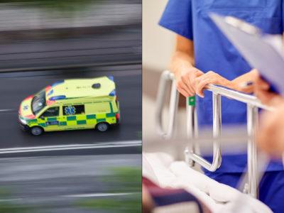 Ambulanssjukvårdare och undersköterska på akutmottagning (genrebilder).