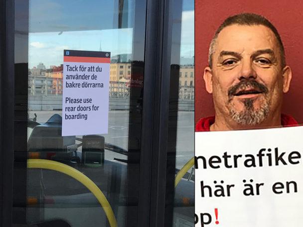 Mikael Olsson vid Nobina i Skåne, ett av de huvudskyddsombud som kämpar vidare för stängda framdörrar.