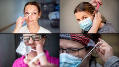 Fyra undersköterskor och vårdbiträden visar upp smarta lösningar för munskydd.