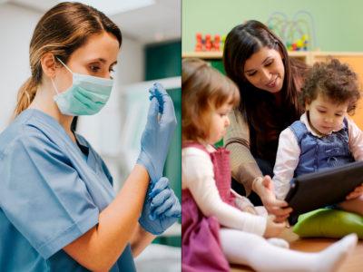 Undersköterska och barnskötare (genrebilder).
