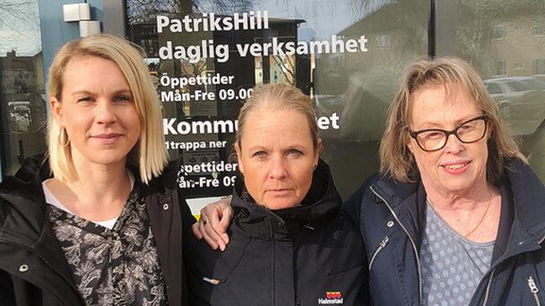 Evelina Tryggvesson, Åsa Hjalmarsson och Ann Erixson vid daglig verksamhet i Halmstad.