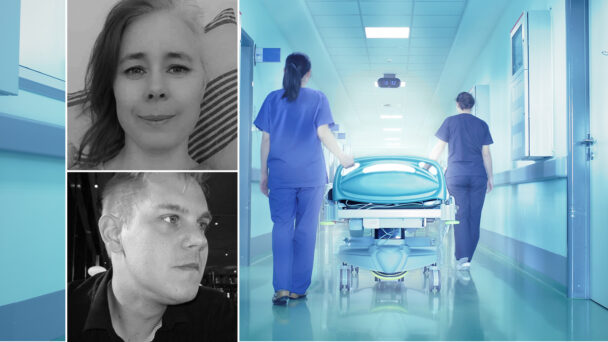 Lina Lindgren och Fredrik Jarlestål Jensen, undersköterskor.