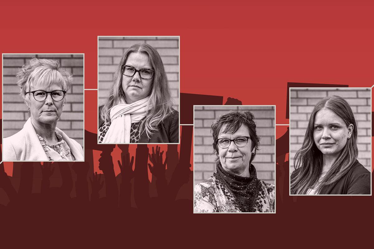 Monica Olsson, Madeleine Berggren, Susanne Svensson och Julia Nilsson, anställda i äldreomsorgen i Bromölla.