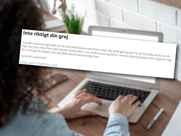 Skärmdump från Stockholms stads webbtest.