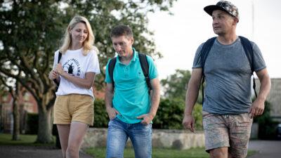 Yuliiia, Volodymyr och Jevhen.