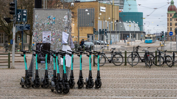 Elsparkcyklar i Göteborg.